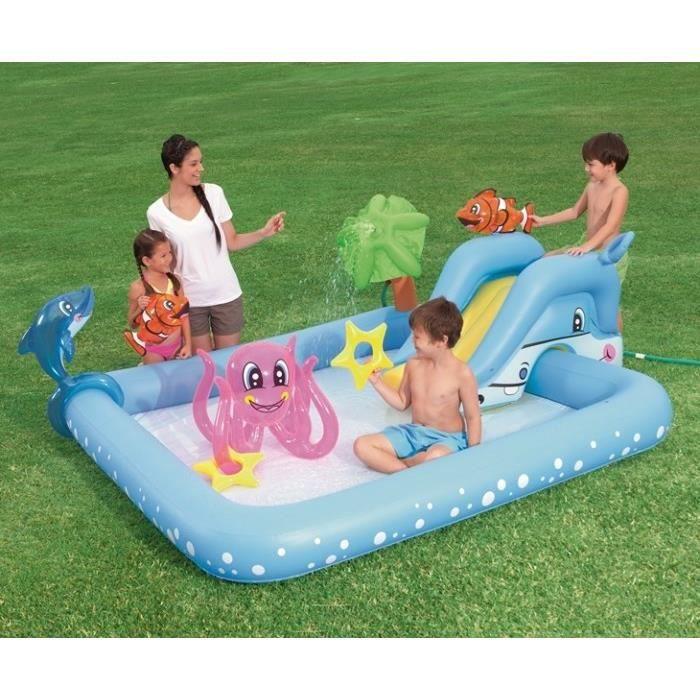 bestway aire de jeux fantastic aquarium avec tobboggan 239 x 206 x h86 cm achat vente. Black Bedroom Furniture Sets. Home Design Ideas