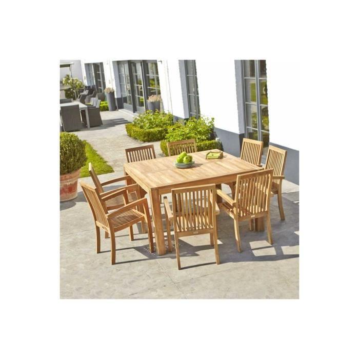 Table de jardin en bois de teck MIDLAND - Achat / Vente table de ...