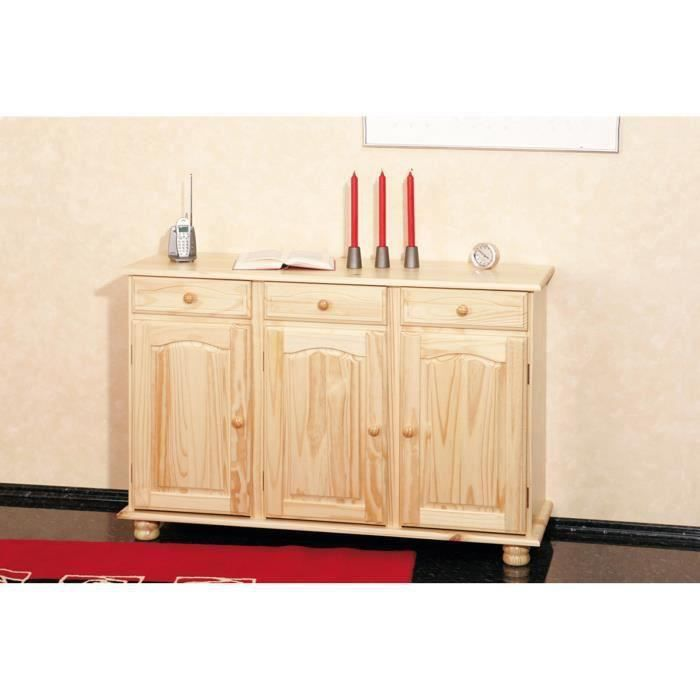 Buffet abaco commode bahut meuble bois massif vernis for Bahut 3 portes 3 tiroirs