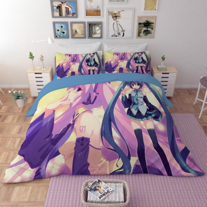 parure de lit hatsune miku bleu 3d effet 160 210cm 3 pieces achat vente housse de couette. Black Bedroom Furniture Sets. Home Design Ideas