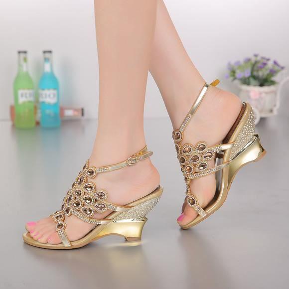 New bohême noir clouté strass bracelet de cheville chaussures de mariage épais talons bas sandales de mariée t3MBShp6w