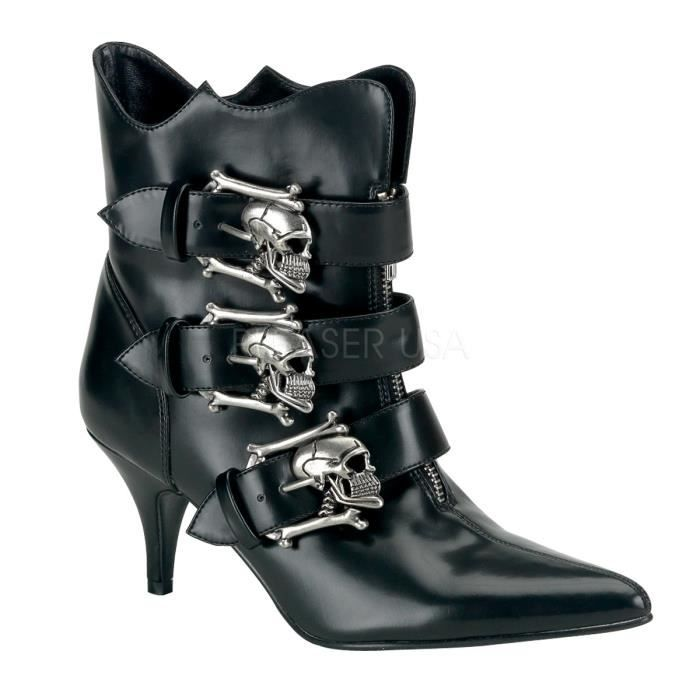 Demonia FURY-06 2 3/4 Inch Goth Punk Witchy Ankle Boot W/ Silver Skull Buckle