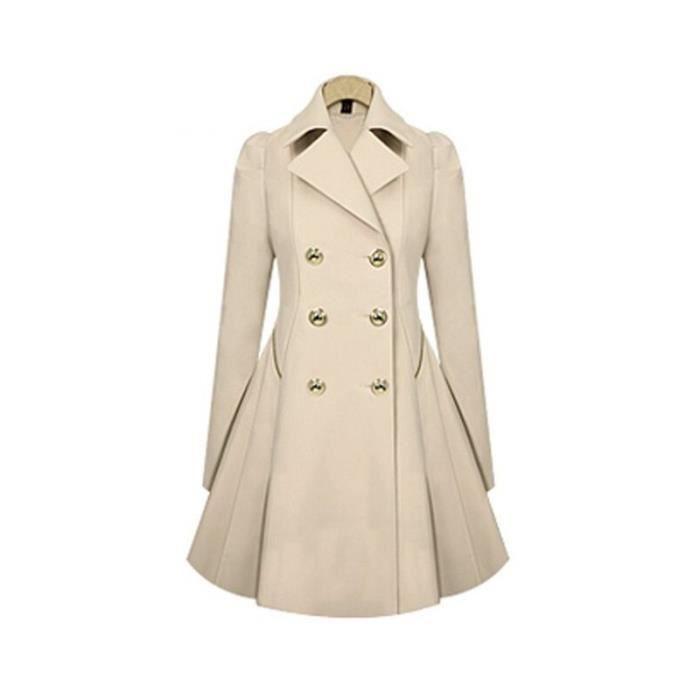 fc5d68a6c48 Manteau Femme Printemps et automne mi-longue col revers Boutons slim ...