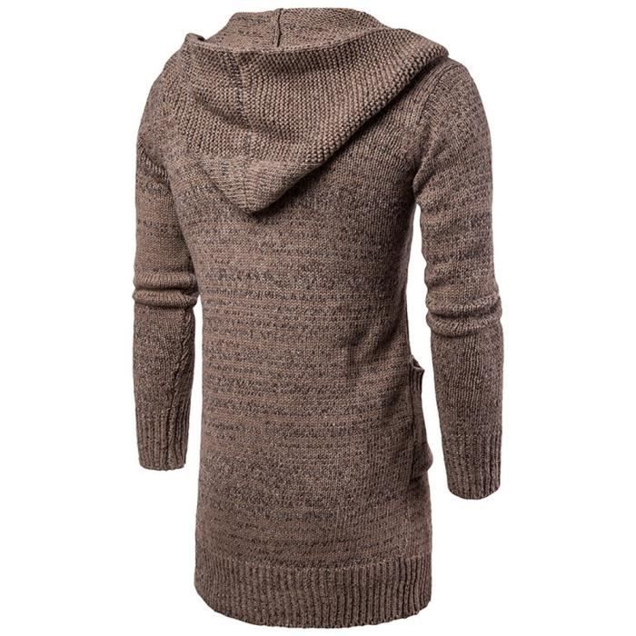 Mens Slim Fit Hooded Knit Sweater Fashion Cardigan Long Trench Coat