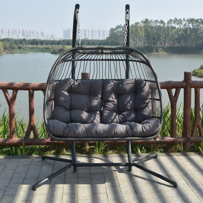 Balancelle de jardin en résine tressée 2 personne fauteuil suspendu ...