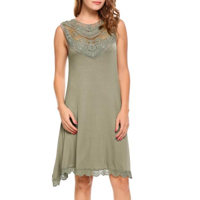 Robe de femme Décontracté sans manches en dentelle Patchwork O Couture à couture A-Line