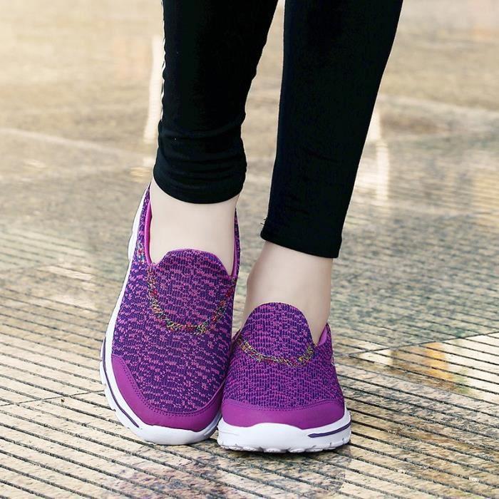 Femmes & # 39; fourreau sport Mocassins coton respirant dames plates Platforms Femme Soft Comfort Chaussures de marche de