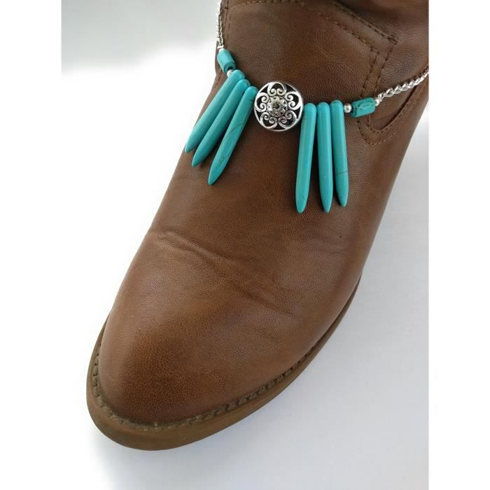 Womens Turquoise Cowboy Concho Gemstone Boot Bracelet Adjustable 15-inch A7YHO