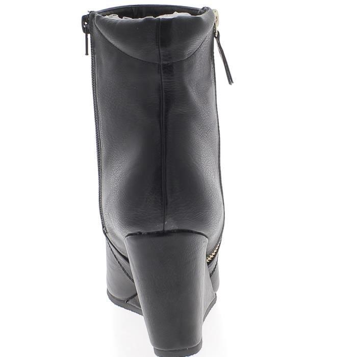 Bottines compensées femme grande taille noires à talon de 9,5 cm aspect cuir brillant