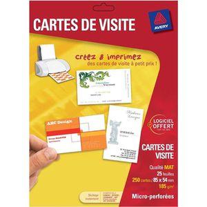 CARTE DE VISITE Avery 250 Cartes De Visite