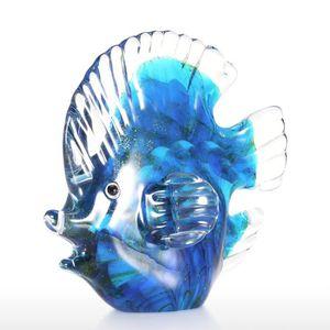 STATUE - STATUETTE Tooarts Poisson tropical bleu en Verre Sculpture O