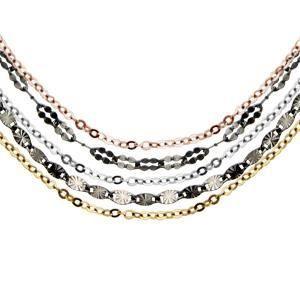 Collier argent rhodié multi-chaînes 3 couleurs noi