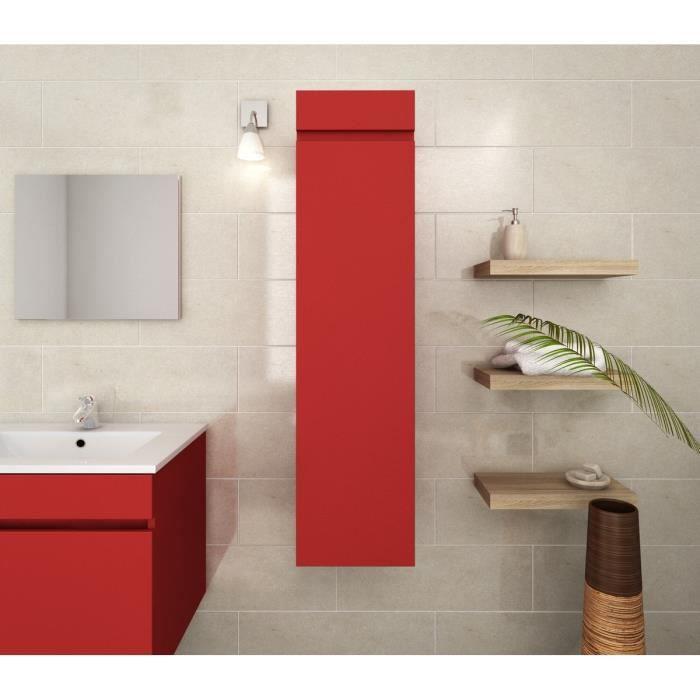 meuble salle de bain colonne rouge