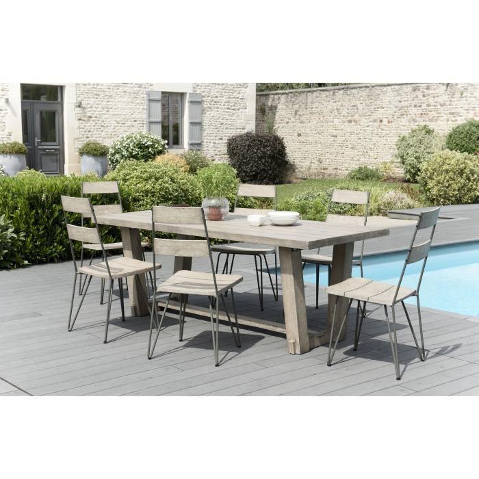 Ensemble de jardin en teck : 1 table à manger rectangulaire- 3 lots de 2 chaises scandinaves en teck