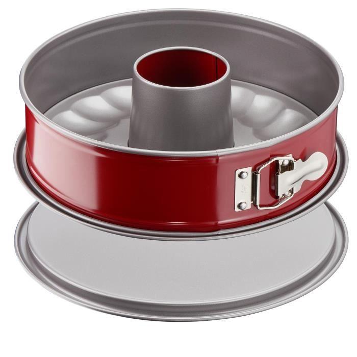 TEFAL Moule à savarin Delibake en acier - Ø 19 cm - Rouge et gris - Avec charnière