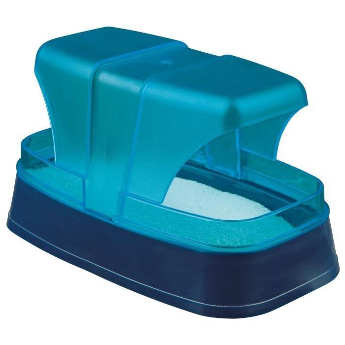 TRIXIE Bac à sable pour hamsters et souris 17 × 10 × 10 cm bleu foncé/turquoise