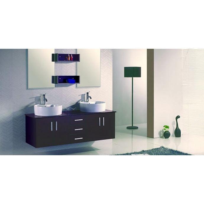 Meuble De Salle De Bain Ares 2 Vasques 2 Miroirs Wenge Achat