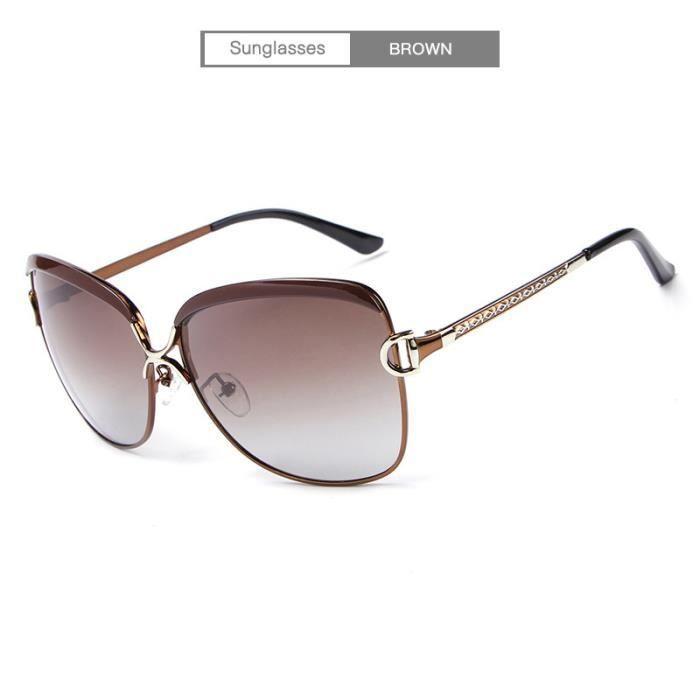 polarisées lunettes UV400 Mode E016 soleil Lunettes BROWN Femme de UxqCUFv