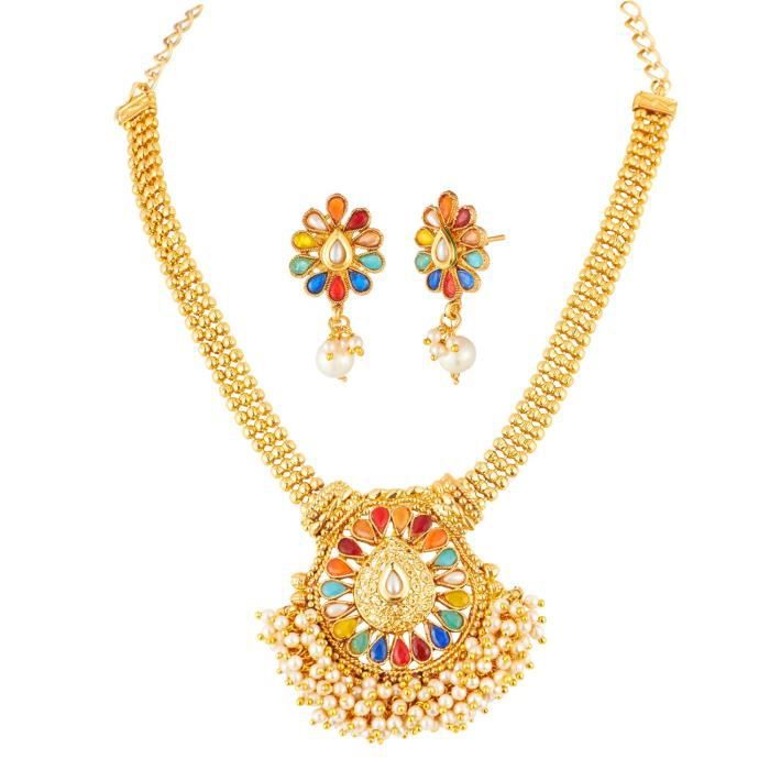 Womens Mulicolour Kundan Jewellery Necklace Set With Pearl Beading ForIKH7Z