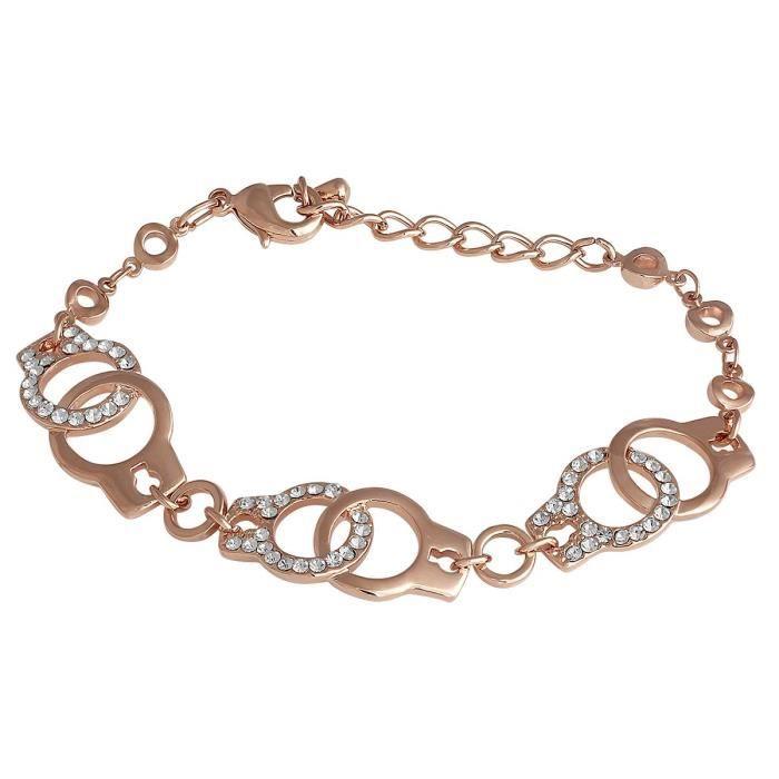 Plaqué or rose de la femme Annonce Parti Pierre verrouillage design Bracelets de chaîne et de vente pour Aibr_048 T1HFQ