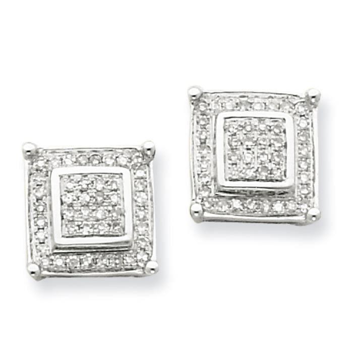 Or blanc 14 carats Diamant carré à Double face-Boucles doreilles