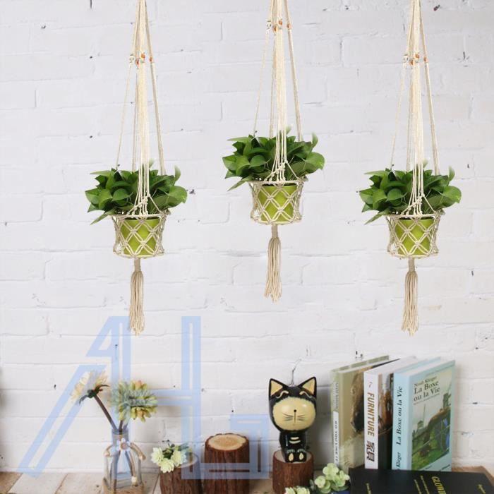 4 jambi res suspension pour porte plante macram suspension plante pour d coration de jardin. Black Bedroom Furniture Sets. Home Design Ideas