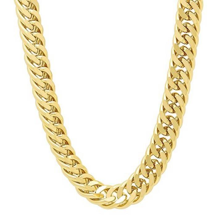 chaîne lourde Collier homme Or jaune 18k plaqué Collier épais Bijoux  fantaisie 24 pouces bd80a50e33b4