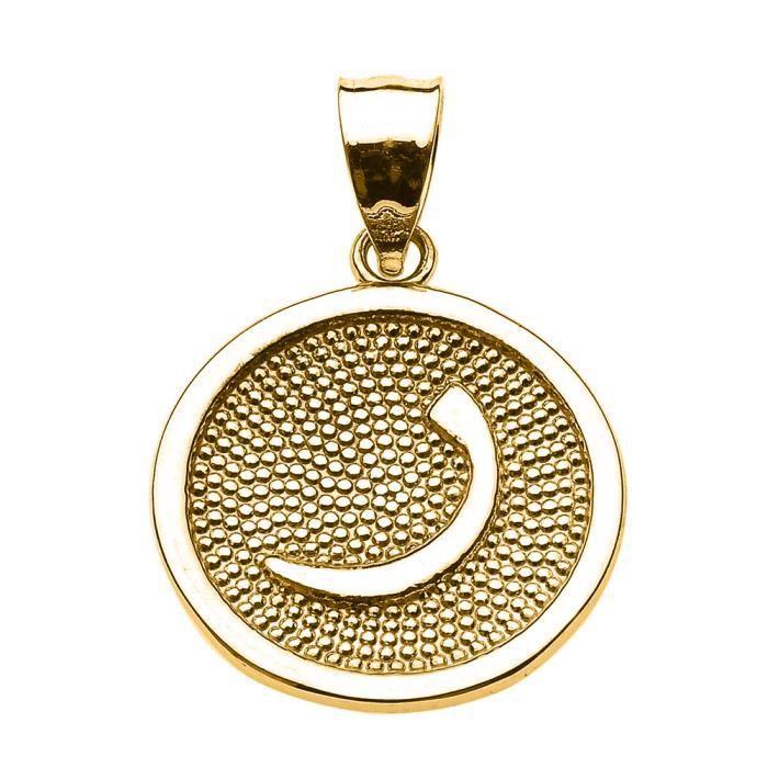 Collier Pendentif14 ct Or JauneArabiquee Lettre RAA initiale Charm(Vient avec une chaîne de 45 cm) Allah islamique