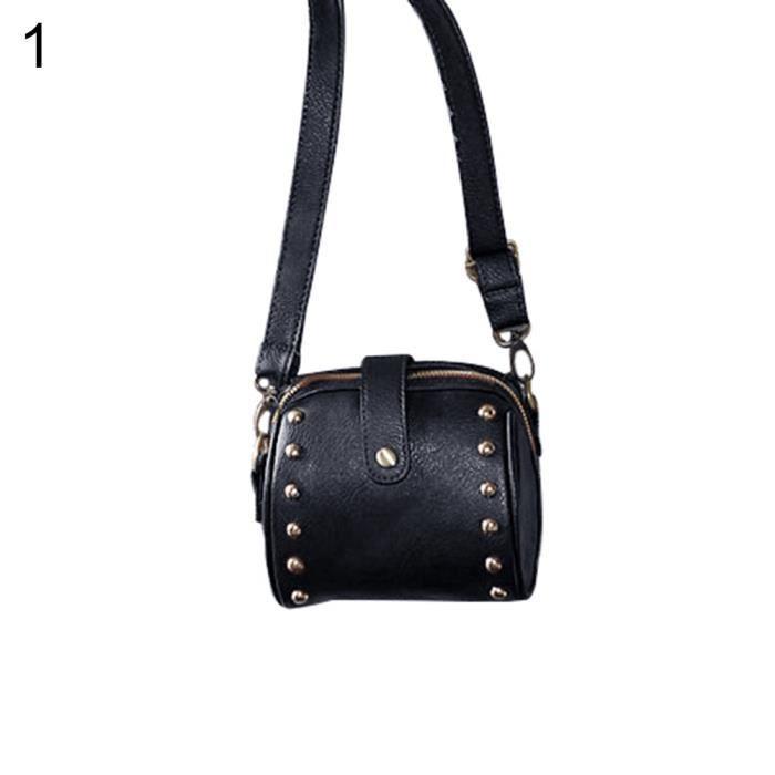 e824f9bd84 Sac à bandoulière Mini sac à main pour femme en similicuir à la mode en  faux cuir à bandoulière noir