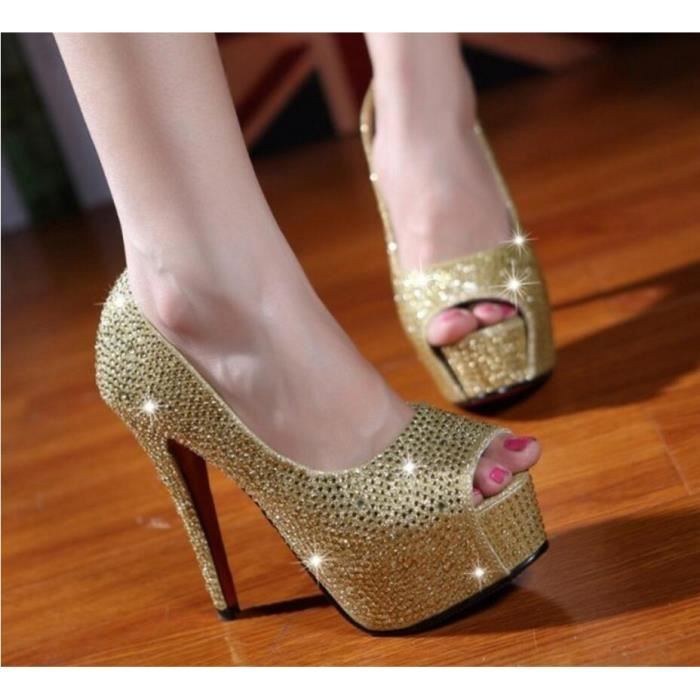 Pure Color 11cm Women Sexy Peep toe Chaussures ...