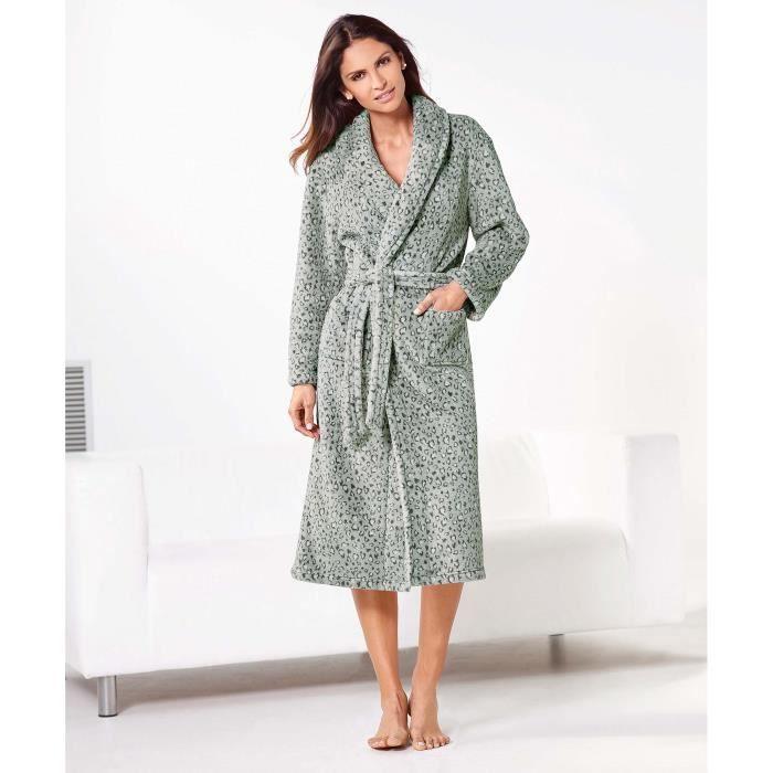 robe de chambre polaire léopard femme venca imprimé - achat