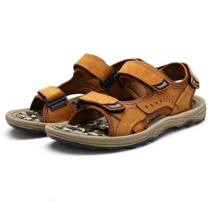 Biencome® Sandales Homme en Cuir Sandales Bout Ouvert - Jaune