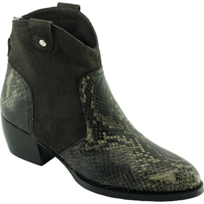 Uestra – Boots Tiag raffinée chaussure mode bottine western pour femme petites pointures marque Plumers cuir velours gris