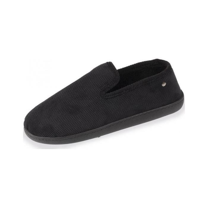 Marques Chaussure homme Isotoner homme Charentaise ergonomique velours c?telé Noir