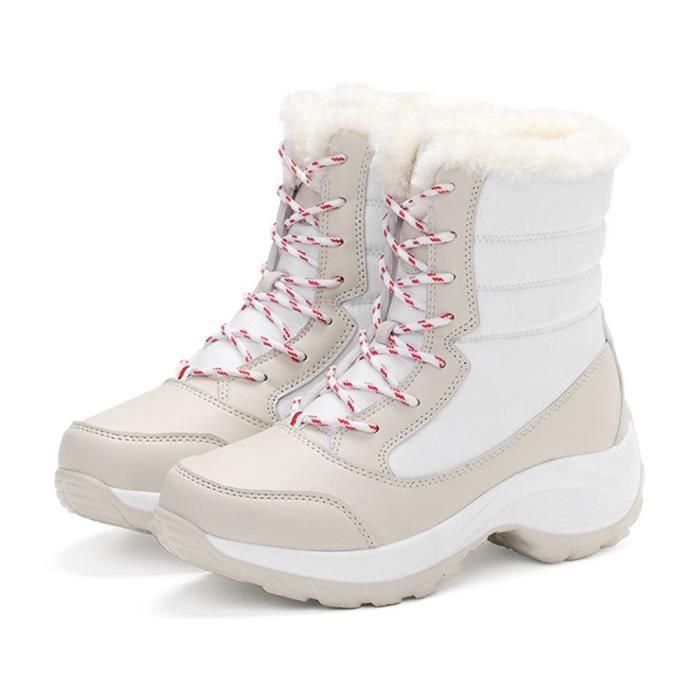 Sidneyki®Bottes d'hiver des femmes en peluche chaussures de travail en plein air chaud cheville bottes de neige blanc XKO375 6x1Nx