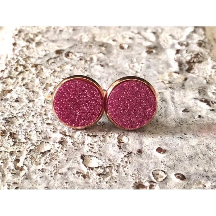 Femmes Pink Glitter, Goujons pour 12mm Rose, Cercle Rosegold Boucles doreilles, Boucles doreilles en acrylique, rose Cercle, Acr G