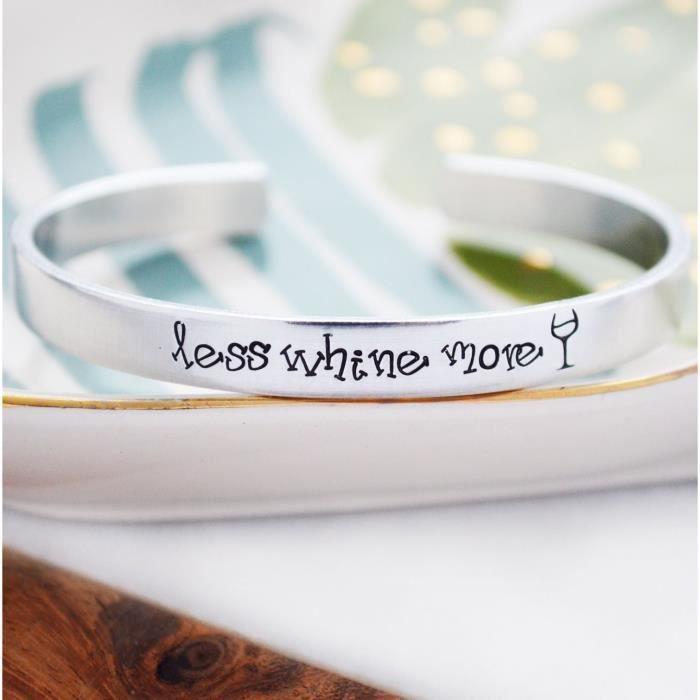 Moins Whine Femmes Plus vin Bracelet Bijoux estampé main pour Wineo Cadeaux damants de moins de 20 ans Dol JPPMZ
