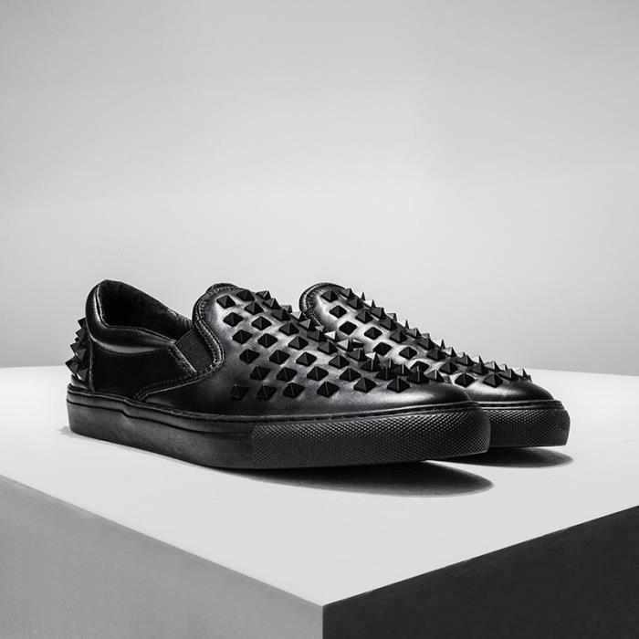 hommes rivet personnalité chaussures en cuir de vache punk glisser sur la chaussure de richelieus plat paresseux jeunes mocassins ef0FMjyKJl