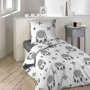 HOUSSE DE COUETTE ET TAIES Parure de Couette Dreamcatcher blanc - noir 140 x