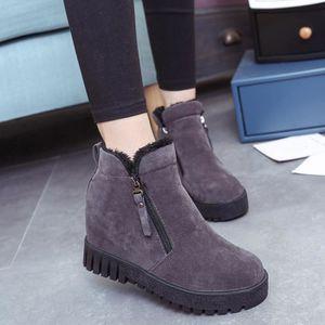 Femmes Hiver Automne Plat Bottes Chaussures Haute Jambe Daim Bottes LonguesGris WE315 xooCs