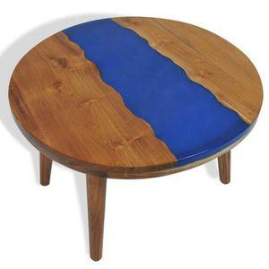 TABLE BASSE Table basse Table de Salon Ronde avec 3 Pieds Teck