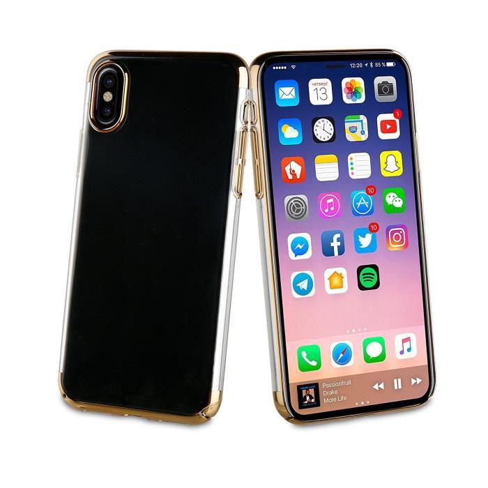 MUVIT Coque pour smartphone Crystal - Edition or - Apple Iphone X