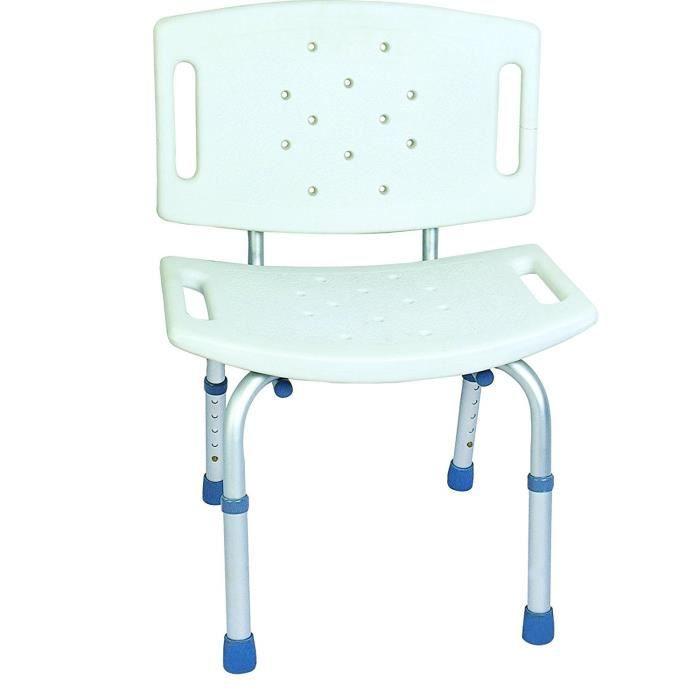 Siège de bain Aluminium et synthétique NOVOLIFE - Assise réglable en hauteur de 71 à 82,5 cm