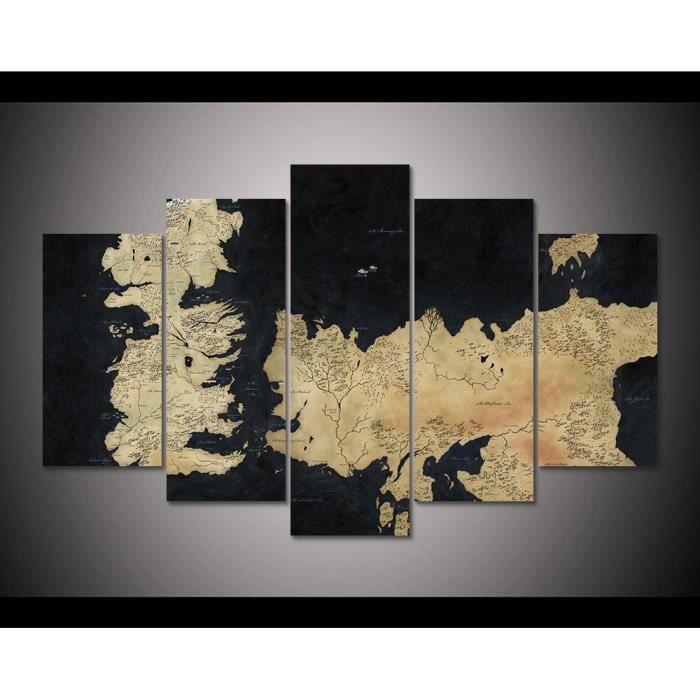 Toile Peintures Imprimées 5 Pièces Jeu De Trônes Carte Abstraite