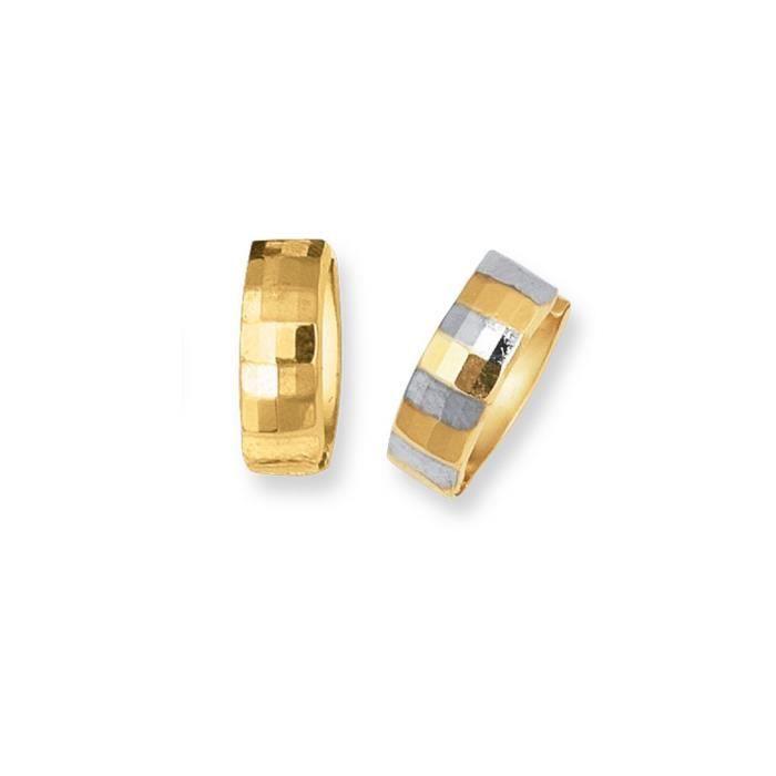 14 carats-Bicolore-réversible Snuggable Boucles doreilles