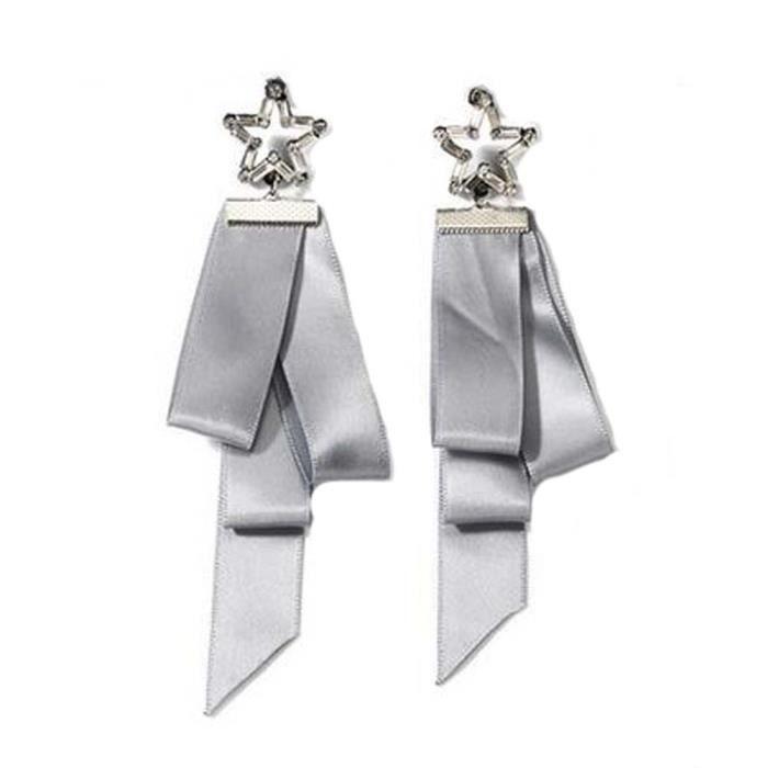 Boucles doreilles asymétriques en forme de ruban de style européen, gris