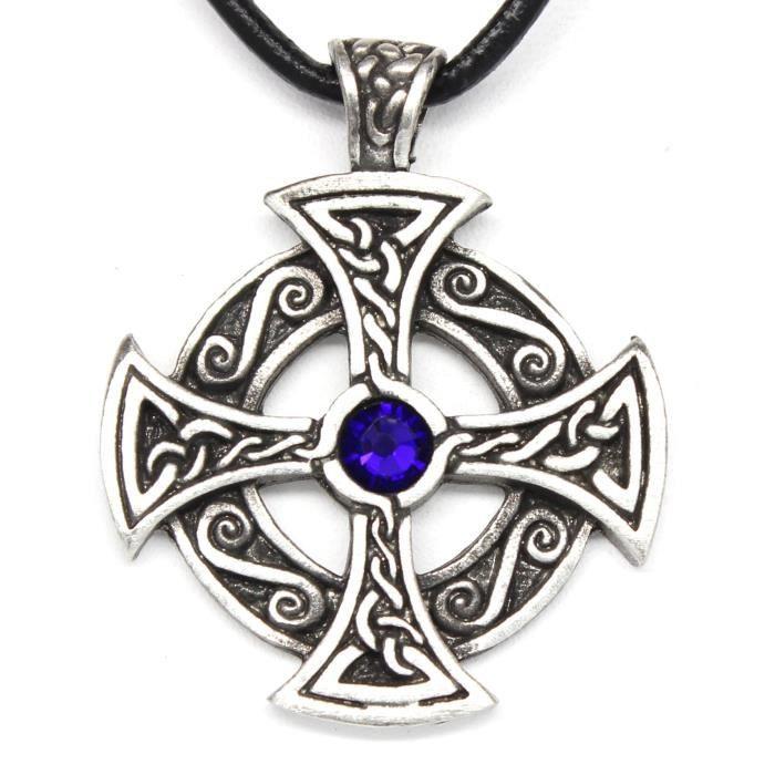 Jewel Panda Anniversaire Pewter solaire pendentif croix W / Cristal Swarovski bleu cobalt Septembre