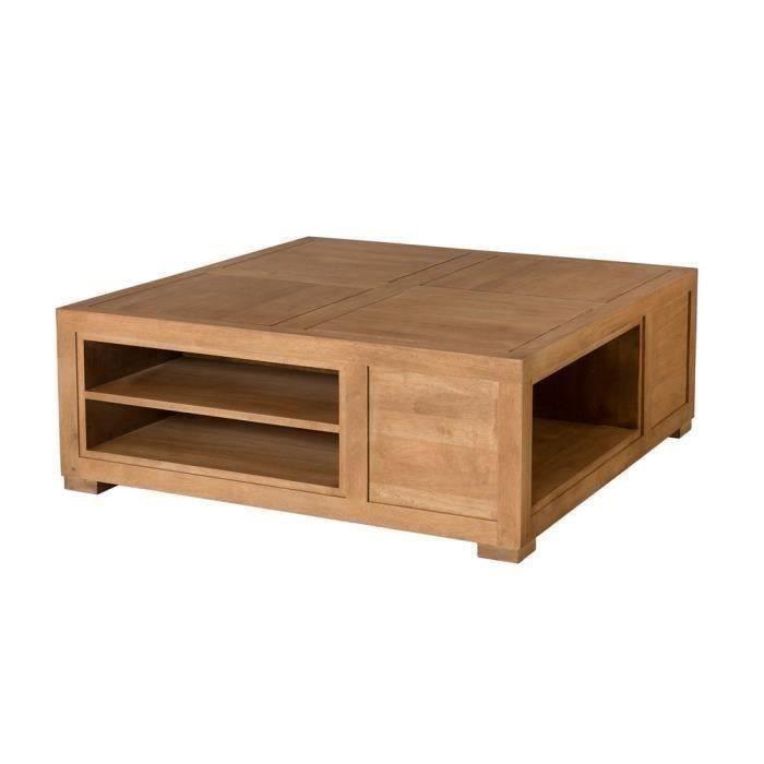 table basse carr e en h v a avec niches de rangement l100xp100 cm madryn bois clair achat. Black Bedroom Furniture Sets. Home Design Ideas