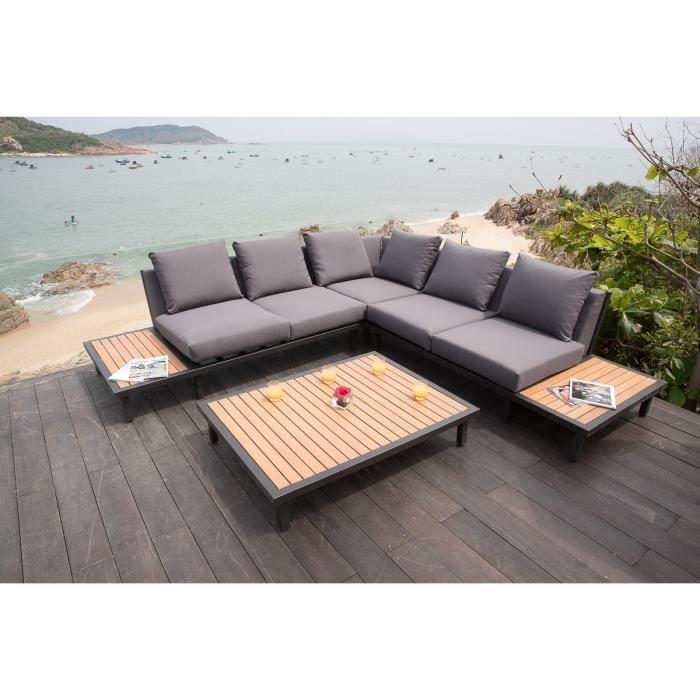 Salon de jardin 5 places en bois eucalyptus FSC et aluminium peint ...
