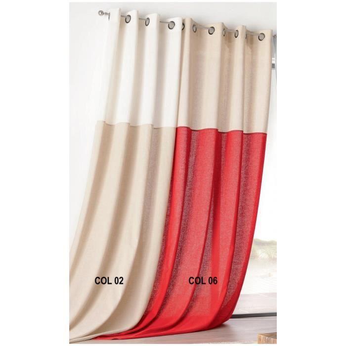 Rideau Bicolore en Poly-Lin Rouge 135 x 260 cm - Achat / Vente ...